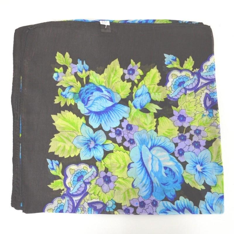 Grand carré en soie marron-vert imp. fleur