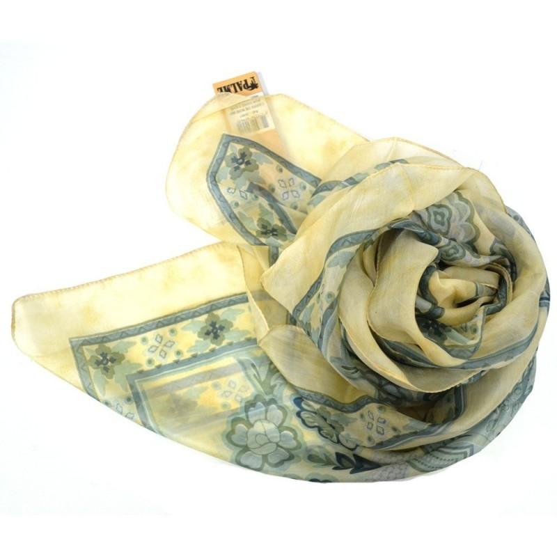 Carré en soie jaune et vert