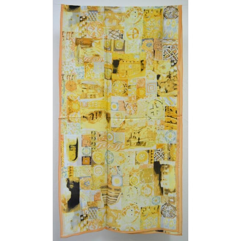 Echarpe en soie jaune
