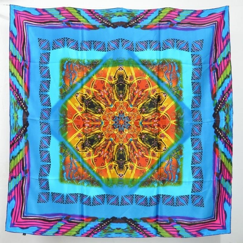 Grand carré en soie 110 cm bleu, marron