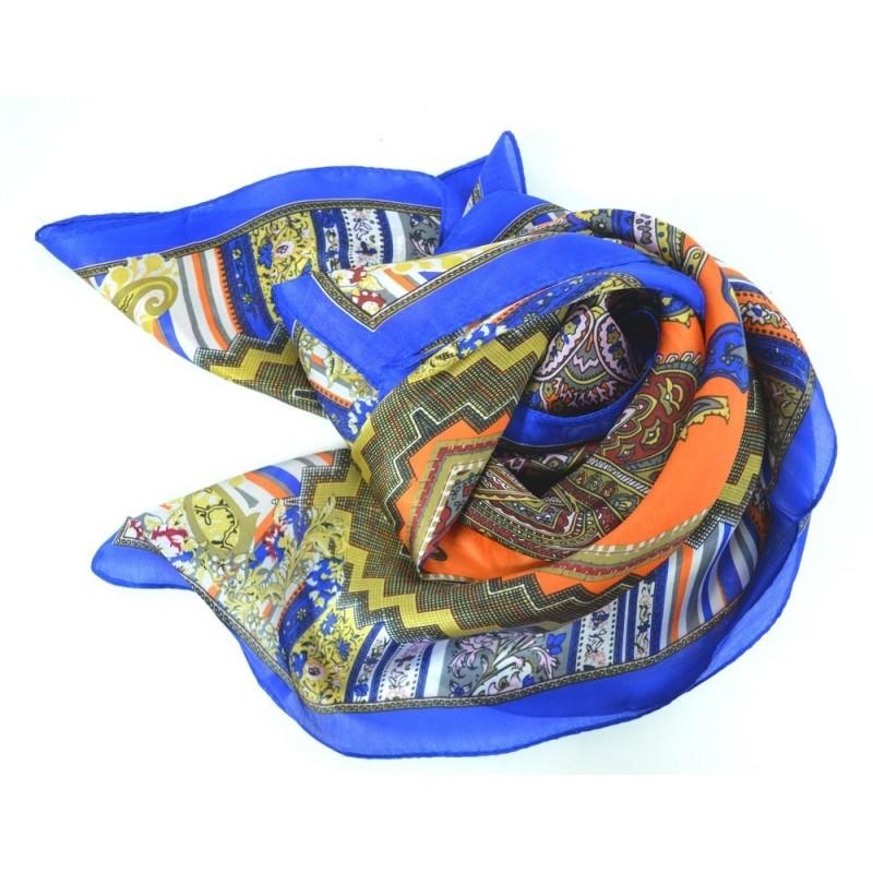 Carré en soie bleu et orange