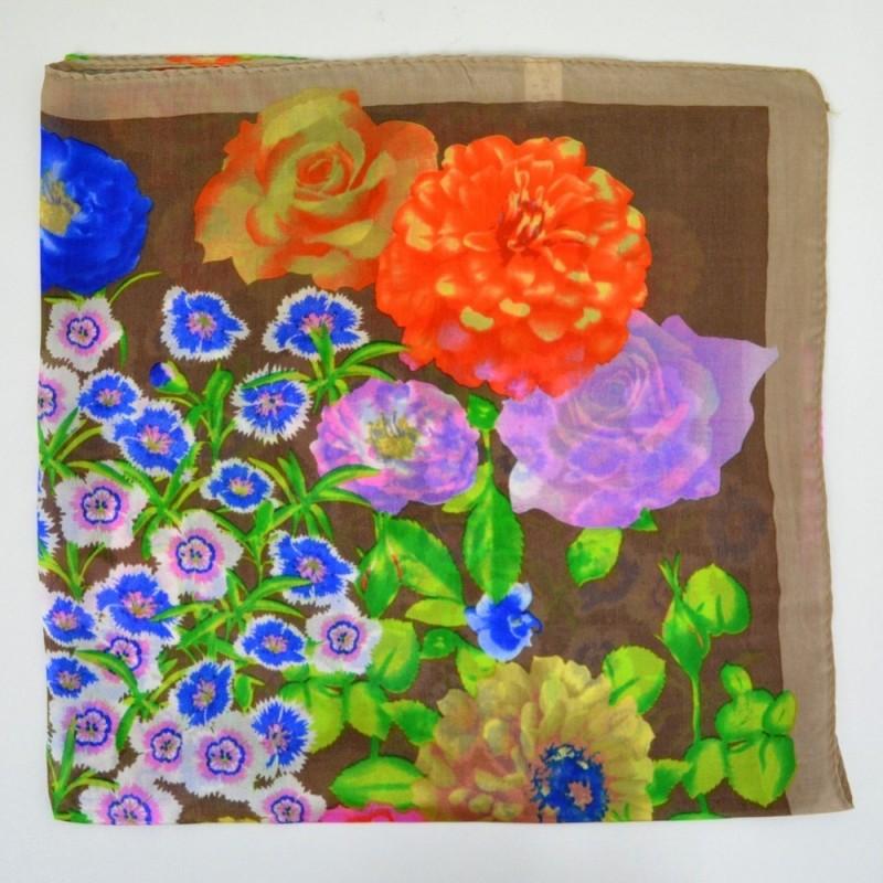 Carré en soie marron à fleurs