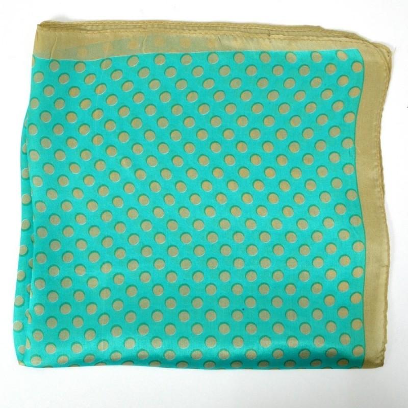 Petit carré en soie vert à pois