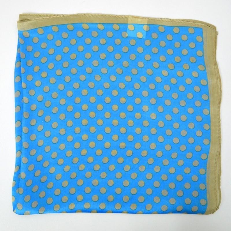 Petit carré en soie bleu à pois